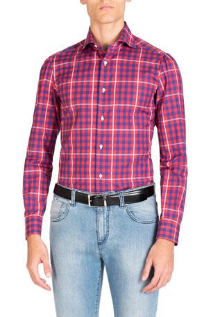 Isaia Men's Long-Sleeve Gingham Sport Shirt
