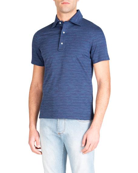 Isaia T-shirts MEN'S PARQUET CHECK POLO SHIRT