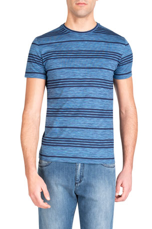 Isaia Men's Striped Cotton T-Shirt