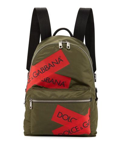 Men's Nylon Logo Backpack