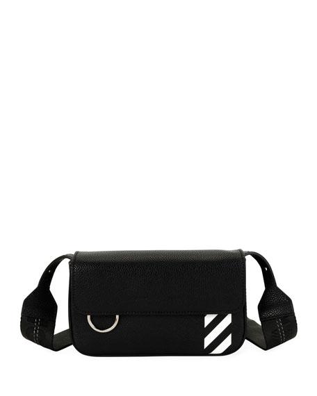OFF-WHITE Leathers Men's Diagonal-Panel Flap Crossbody Bag