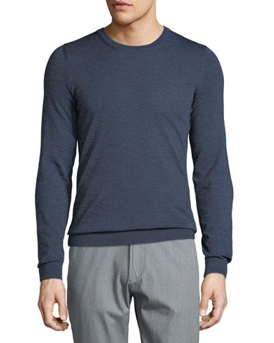 Men's Heathered Wool Crewneck Sweater