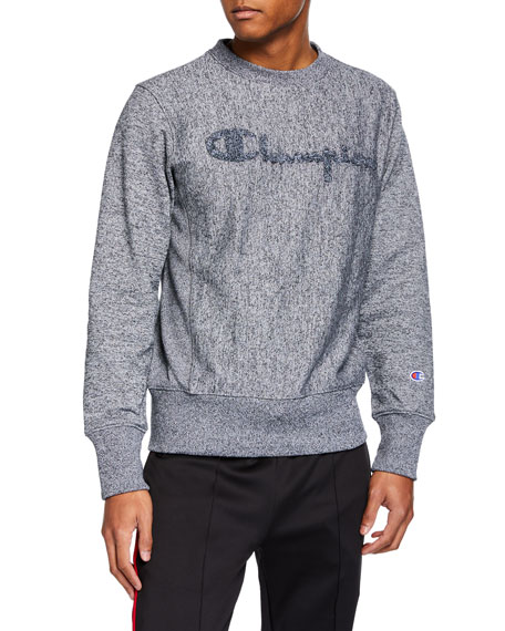 Champion Europe Men's Long-Sleeve Flocked Logo Marled Sweatshirt