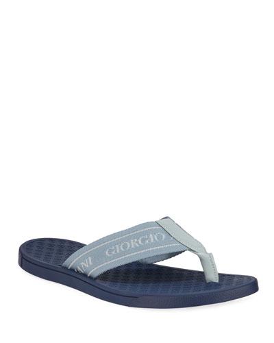 Men's Logo Jacquard Flip-Flops