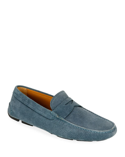 Men's Chevron Suede Drivers, Blue