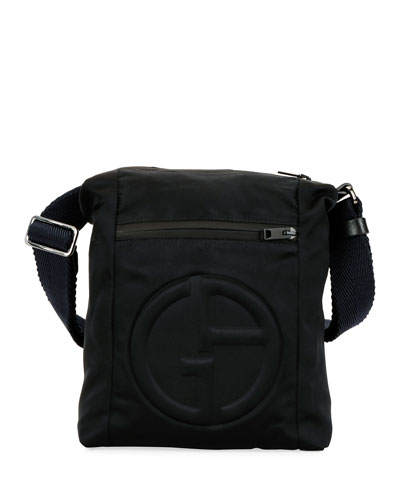 Men's Logo-Embossed Crossbody Bag
