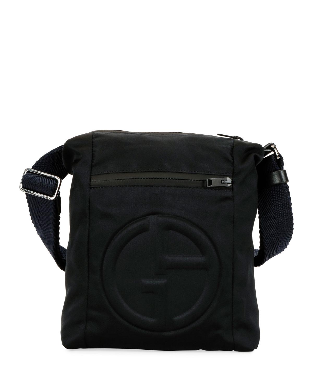 c22a9ee544 Giorgio Armani Men s Logo-Embossed Crossbody Bag