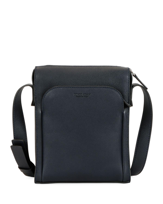 e281b3b3bae9 Giorgio Armani Men s Tumbled Calf Leather Crossbody Bag