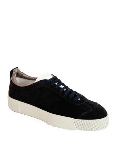 Men's Suede Low-Top Sneakers, Navy