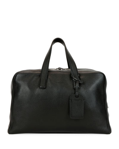 Men's Deer Leather Carryall Duffel Bag, Black