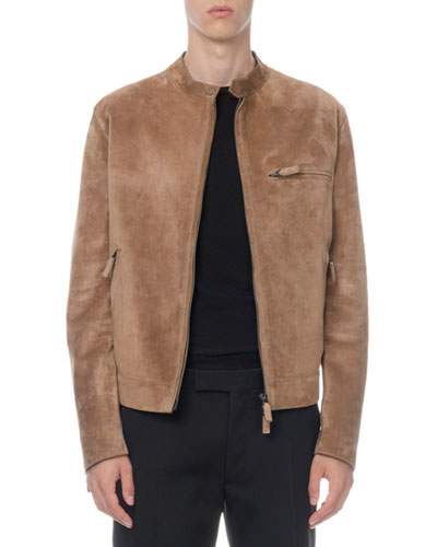 Men's Suede Zip-Front Moto Jacket