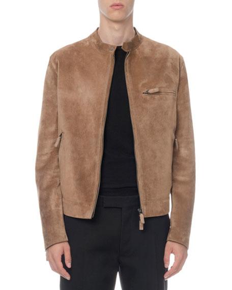 Berluti Men's Suede Zip-Front Moto Jacket