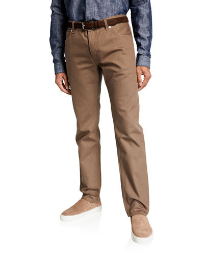 Men's Leather Selvedge Denim Jeans