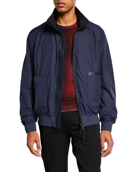 Berluti Jackets MEN'S LEATHER-TRIM ZIP-FRONT BOMBER JACKET