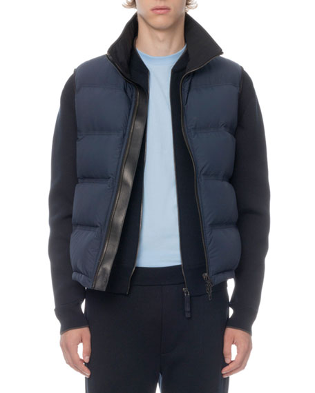 Berluti Men's Leather-Trim Zip-Front Down Vest