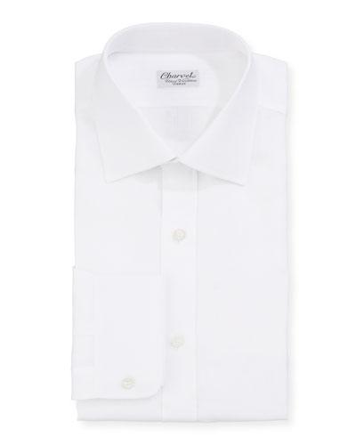 Men's Solid Linen Dress Shirt  White