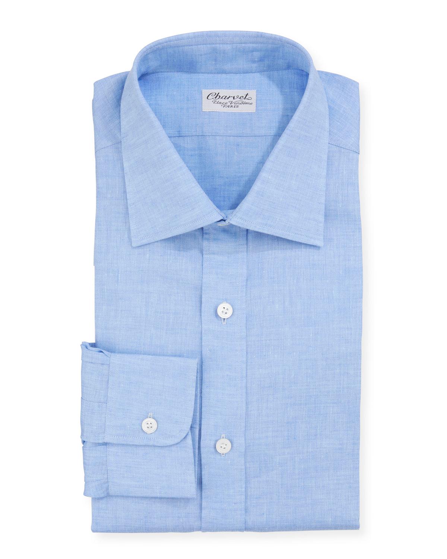 Charvet Solid Blue Linen Dress Shirt