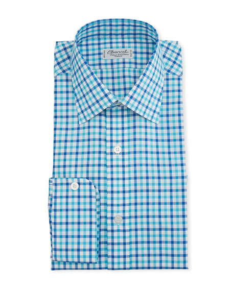 Charvet Dresses MEN'S TWO-TONE PLAID DRESS SHIRT, BLUE/GREEN