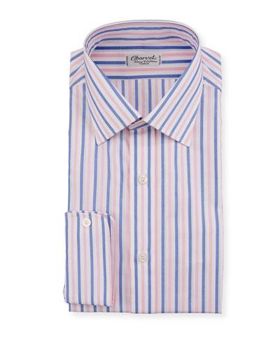 Men's Vertical Stripe Dress Shirt  Pink/Blue