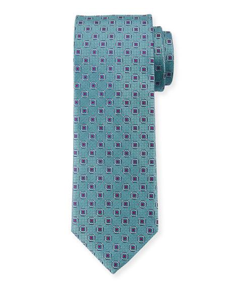 Canali Men's Woven Hexagon Silk Tie, Green