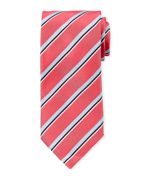 Canali Men's Satin Stripe Tie, Pink