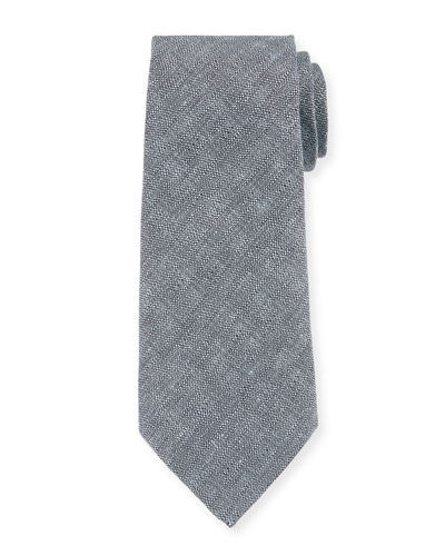 Men's Neat Textured Linen/Silk Tie