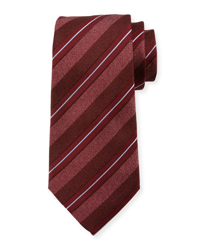 Wide-Stripe Silk/Cotton Tie