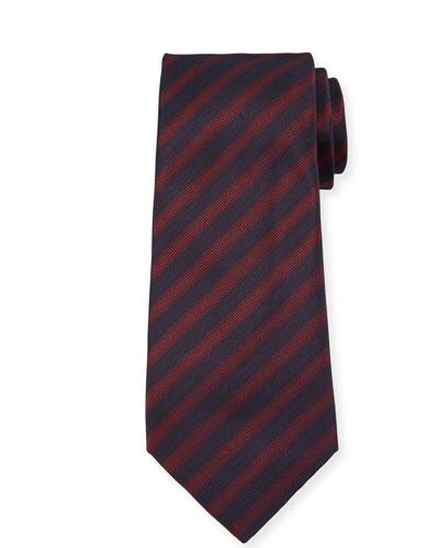 Men's Striped Woven Jacquard Tie, Red