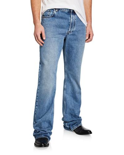 Men's Boot-Cut Light-Wash Denim Jeans