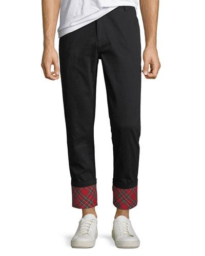 Men's Panic Plaid-Cuff Twill Pants