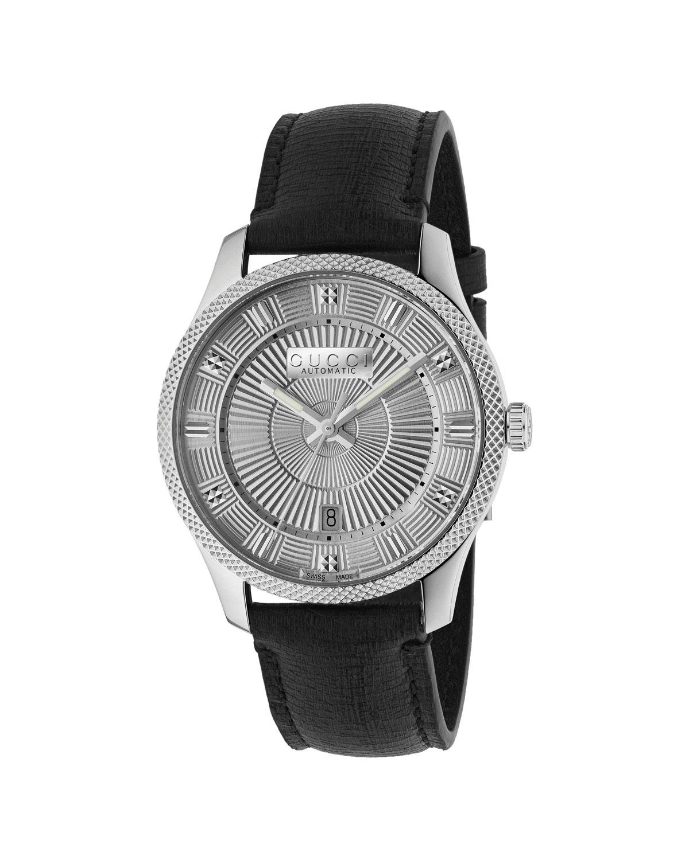 ab97dbe6de8 Gucci Men s Automatic Guilloche-Dial Watch w  Leather Strap