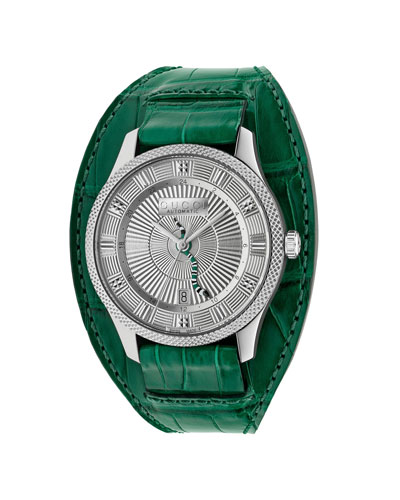 Men's Automatic King Snake Watch w/ Oversized Leather Strap