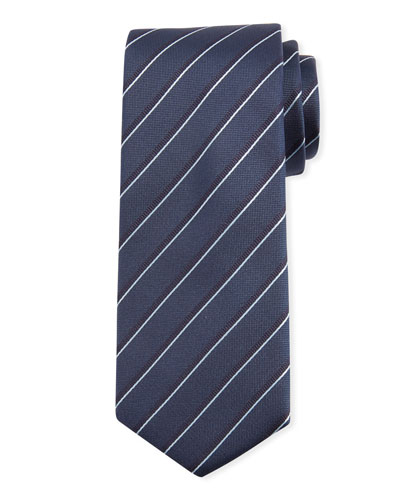 Traveler Two-Tone Stripe Silk Tie