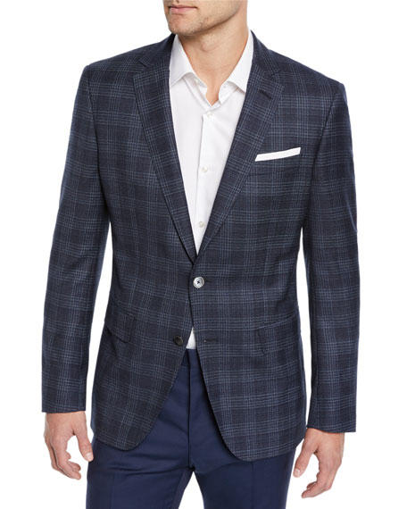 BOSS Men's Plaid Sport Coat in Wool