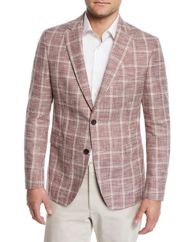 Men's Cotton/Linen Windowpane Sport Coat
