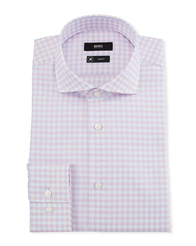 Men's Slim-Fit Checked Cool-Comfort Travel Dress Shirt