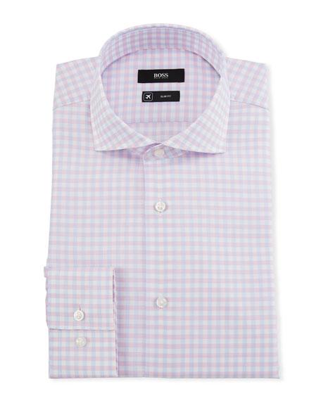 BOSS Men's Slim-Fit Checked Cool-Comfort Travel Dress Shirt