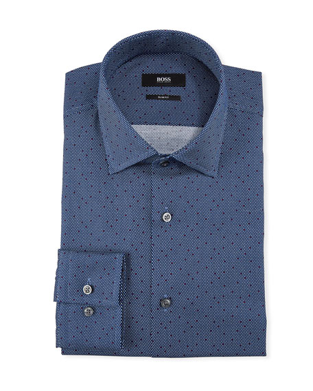 BOSS Men's Slim-Fit Dot-Print Dress Shirt