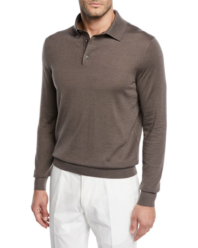 Men's Cashmere/Silk Polo Sweater