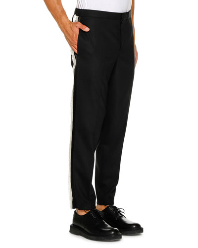 Men's Tuxedo Satin Fringe Stripe Pants