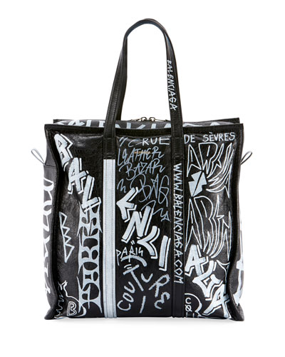 Men's Bazar Medium Graffiti Leather Shopper Tote Bag