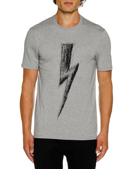 NEIL BARRETT Men'S Scrubble Bolt Short-Sleeve T-Shirt in Gray/Black