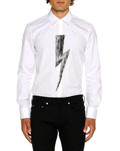 Men's Scribble Bolt Graphic Long-Sleeve Shirt
