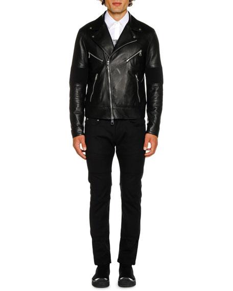 Neil Barrett Men's Biker Knit Leather Jacket
