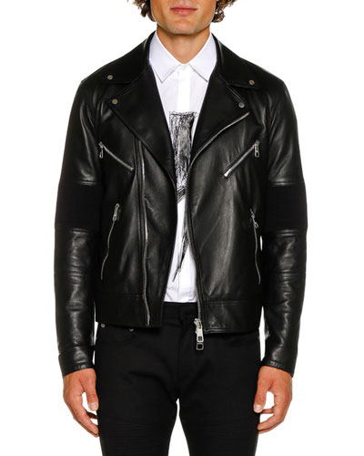 Men's Biker Knit Leather Jacket