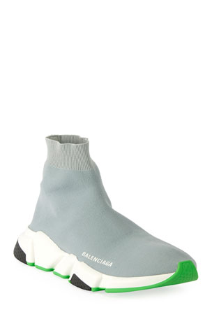 Balenciaga Men's Speed Knit Sneakers with Fluo Sole