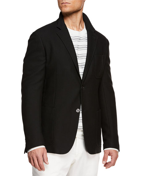 10308178 Men's Wool-Cashmere Two-Button Blazer Jacket in Black