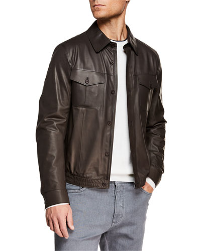Men's Ultra Light Leather Shirt Jacket