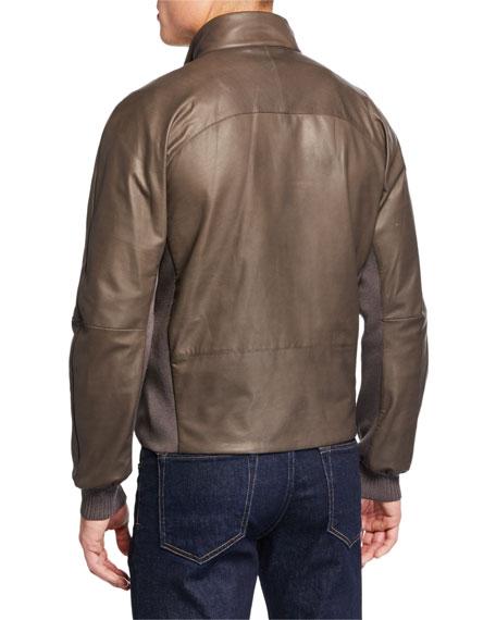 a379af70 Men'S Light Padded Leather Bomber Jacket in Dark Green
