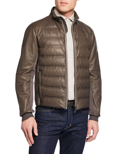 Men's Light Padded Leather Bomber Jacket